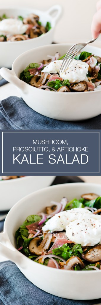 Mushroom, Prosciutto, & Artichoke Kale & Spinach Salad - Super hearty salad, plus you can't beat poached eggs on salad!
