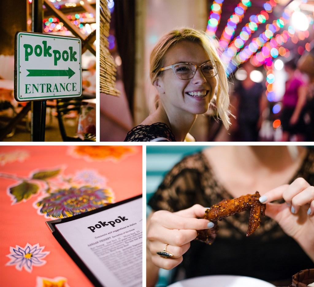 Eating at Pok Pok in Portland, Oregon.