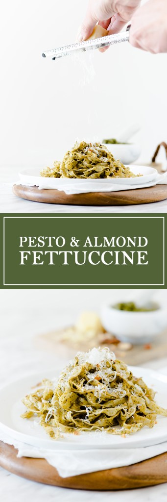 Pesto & Fettuccine - Fresh pasta, topped with pesto & almonds.