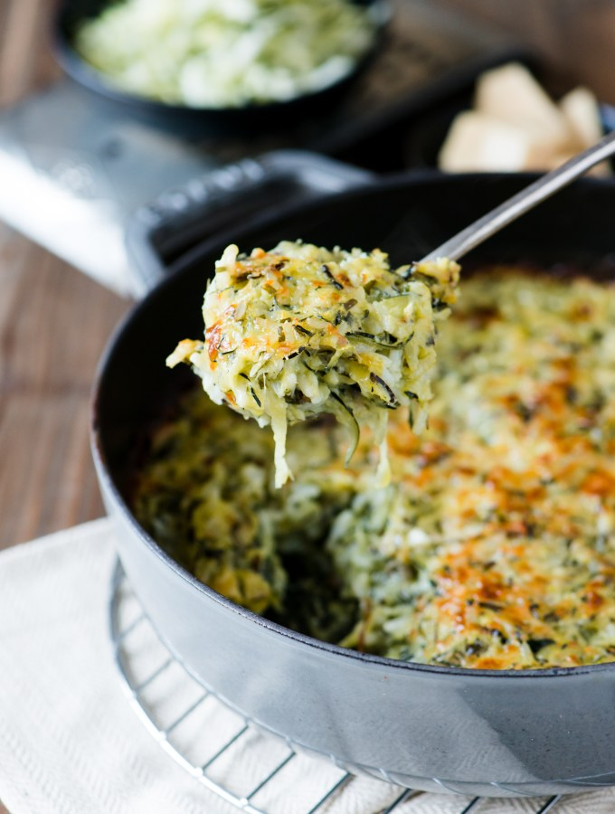 Zucchini & Wild Rice Gratin - So rich & creamy, you'd never guess there was no butter or cream in it!