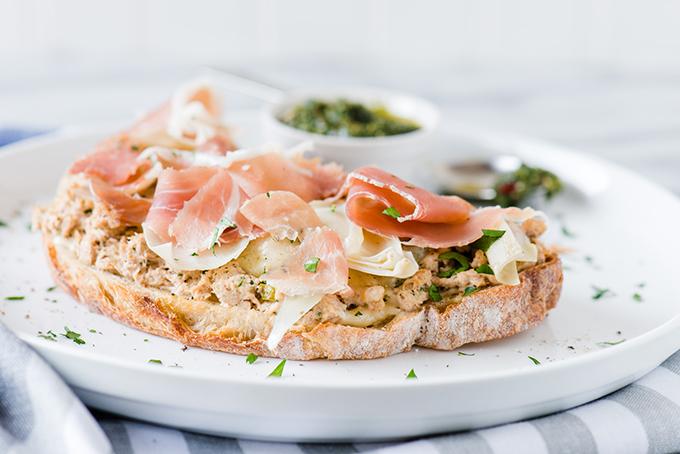 Chimichurri, Artichoke, and Prosciutto Tuna Melt