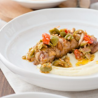 Roast Chicken with Tomato & Olive Tapenade - A simple, yet impressive dinner entree.