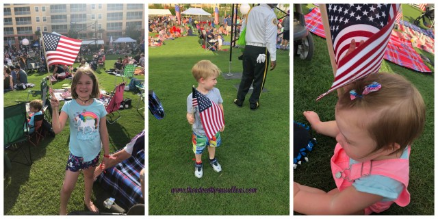 Picture one is of little girl holding the American Flag.  Picture two is of a little boy holding the American Flag. Picture three is of a baby sitting next to the American Flag.