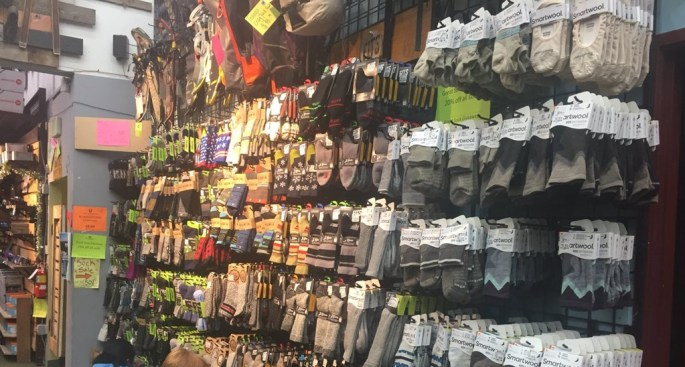 wall of socks