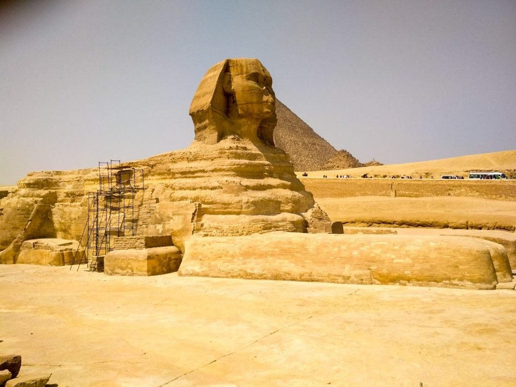 The Great Sphinx of Giza is one of the famous Egyptian landmarks
