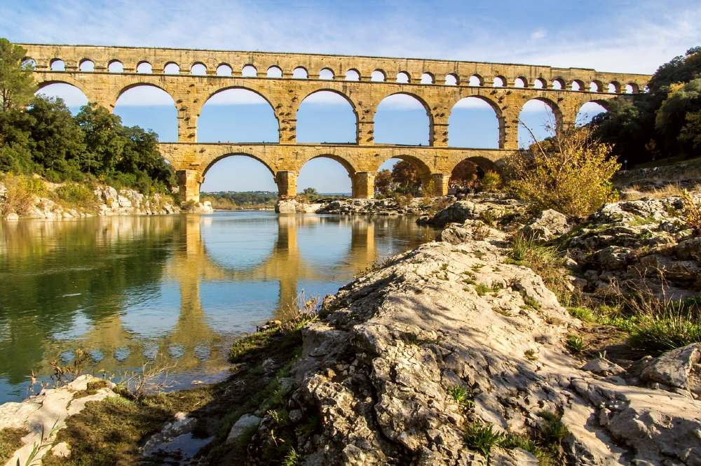 Pont du Gard is one of the french famous landmarks