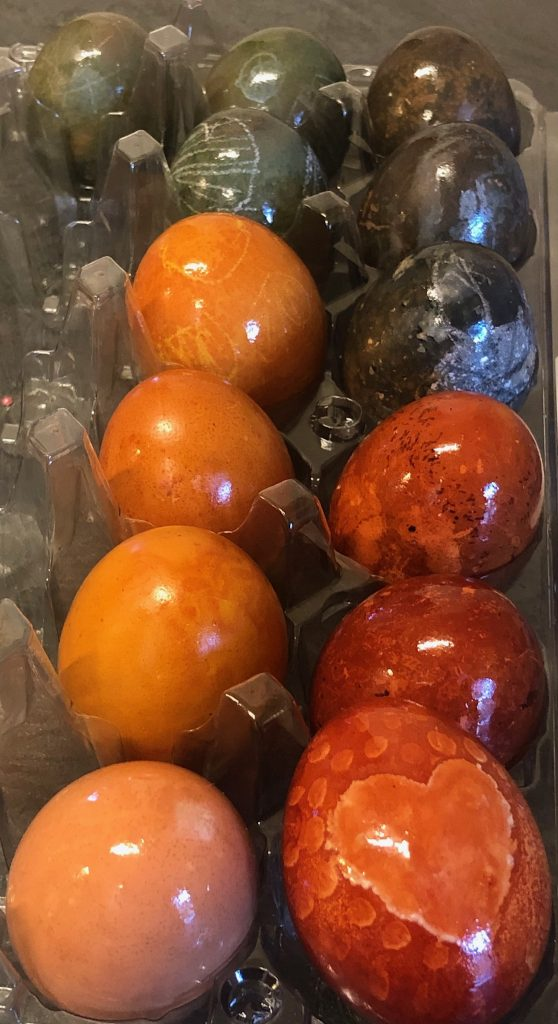 dyed eggs rubbed with oil