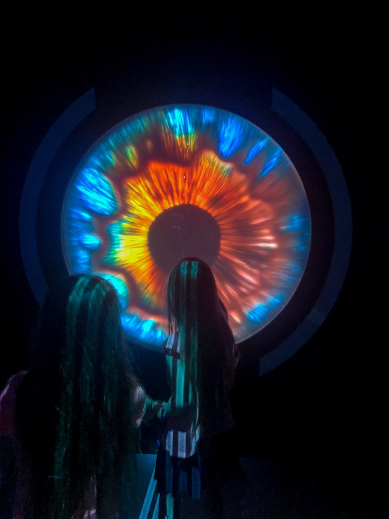 girls looking at interactive eye exhibit