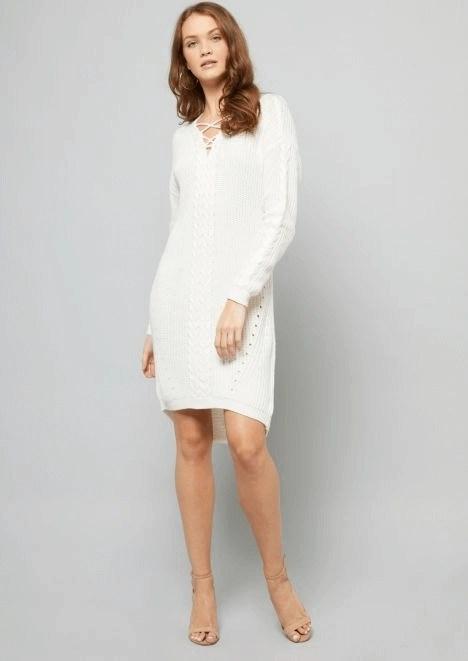 491d06fa60b ... rue21 ivory cable knit crisscross sweater dress