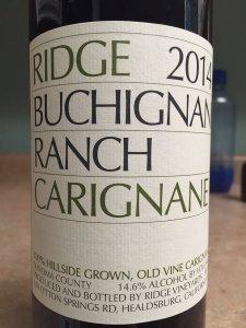 2014 Ridge Vineyards Carignane