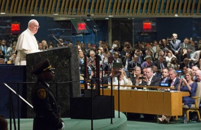 Pope Francis addressing UN General Assembly in New York. Photo: Alie Sheriff/The AfricaPaper
