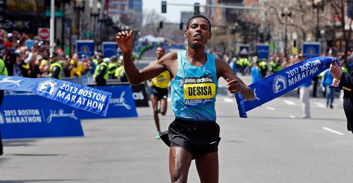 Lesisa Desisa at the Boston Marathon in 2013