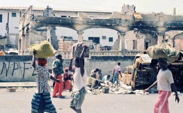 Civilians fled Monrovia as NPFL destroyed the city. Photo: James K. Fasuekoi/The AfricaPaper