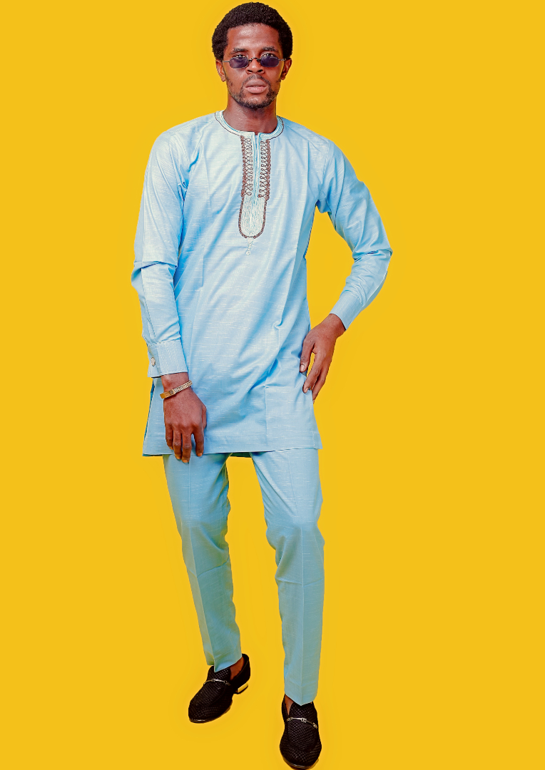 The Afrocentrics - Sky Blue Long Sleeve KAFTAN By KIMBA COLLECTIONS