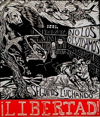 No Los Olvidamos/We haven't forgotten you Linoleum blockprint $25