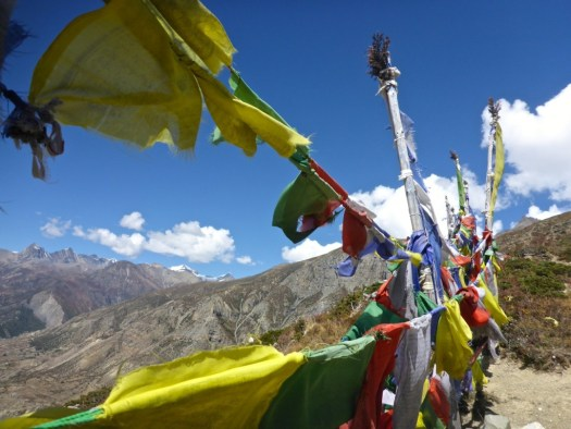 Prayer flags Ice Lake, Manang, Nepal.