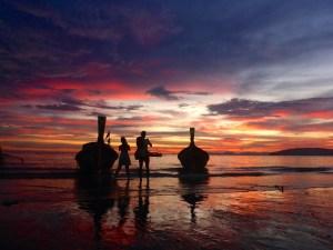 Sunset Ao Nang Beach, Krabi,, Thailand