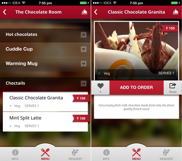 The Chocolate Room on Spoonzo Mobile app