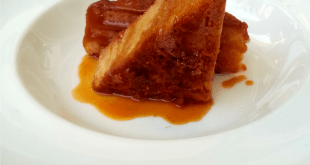 White Chocolate Brownie dipped in luscious toffee sauce | Photo © Hemal Mehta