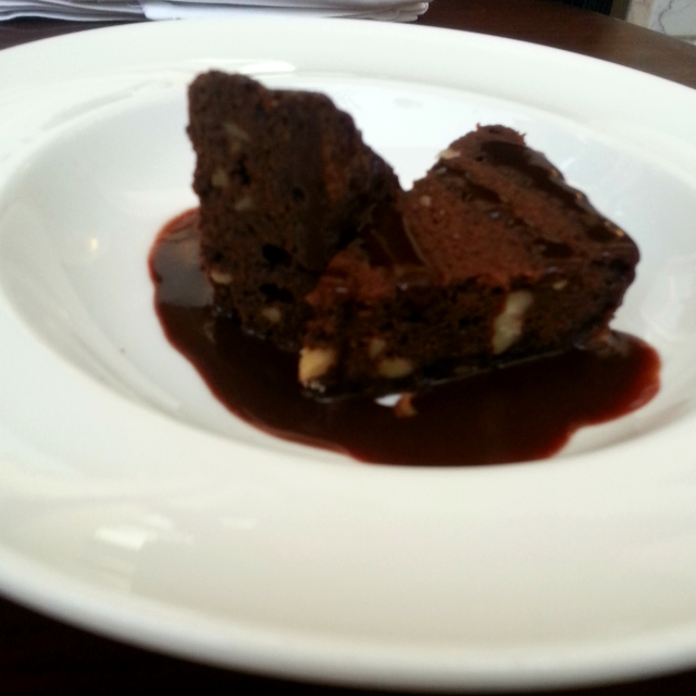 Dark Chocolate Brownie with Chocolate Sauce |  Photo © Hemal Mehta