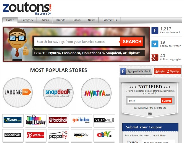 Zoutons.com: One stop destination for discount coupons in India