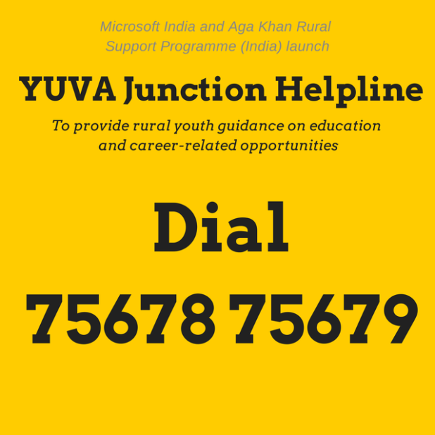 Microsoft and Aga Khan Rural Support Programme (India) launch YUVA Junction Helpline