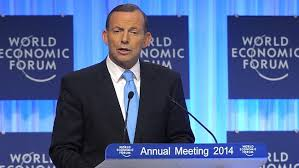 Tony Abbott speaking at Davos (image from news.com.au)