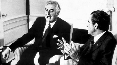 Gough Whitlam with Richard Nixon (image from theaustralian.com.au)