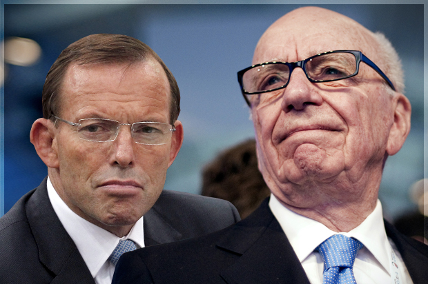 Tony Abbott, Rupert Murdoch (Credit: Reuters/Dinuka Liyanawatte/Lionel Bonaventure/Photo montage by Salon)