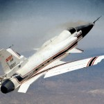 X-29 No. 2 demonstrating high-angle of attack. Note the spin-chute above the engine. (NASA photo)