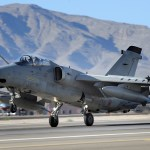 An Italian air force AMX Fighter aircraft lands at Nellis Air Force Base, Nev., following a Red Flag 09-5 training mission Aug. 26, 2009 (US Air Force photo)