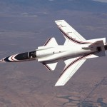 In this July 1987 photo, X-29 No. 1 is flown in a joint NASA-Air Force-Defense Advanced Research Projects Agency program that ran from December 1984 to 1988, investigating handling qualities, performance, and systems integration on the unique forward-swept-wing research aircraft. (NASA photo)