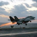 An F-14 taking off