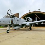 A pilot and crew chief conduct a pre-flight inspection on an A-10 Thunderbolt II aircraft outside a hardened aircraft shelter at Spangdahlem Air Base, Germany, before leaving for Exercise Dacian Thunder on July 6, 2012. (U.S. Air Force photo by Airman 1st Class Dillon Davis)