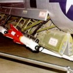 """A pair of AIM-4D Falcons in the weapons bay of the F-102 """"Delta Dagger"""" fighter"""