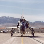 View of QF-106 airplane for the Eclipse project taxiing on the runway at Mojave Airport, Calif. (NASA photo)