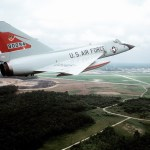 An air-to-air right side view of an F-106 Delta Dart aircraft from the 87th Fighter Interceptor Squadron. (USAF photo)