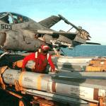 """""""Phoenix"""" missiles being moved aboard an aircraft carrier"""