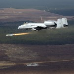 An AGM-65 Maverick missile flies away from a US Air Force (USAF) A-10 Thunderbolt attack aircraft from the 104th Fighter Wing (FW), Barnes Air National Guard (ANG) Base, Westfield, Massachusetts (MA), over northwest Florida during a Combat Hammer Air-to-Ground Weapons System Evaluation Program (WSEP) mission