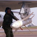 """An AGM-88 """"HARM"""" missile loaded"""