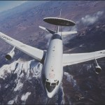 The E-3 Sentry is a modified Boeing 707/320 commercial airframe with a rotating radar dome. The dome is 30 feet in diameter, 6 feet thick and is held 11 feet above the fuselage by two struts. It contains a radar subsystem that permits surveillance from the Earth's surface up into the stratosphere, over land or water. The radar has a range of more than 200 miles for low-flying targets and farther for aerospace vehicles flying at medium to high altitudes