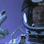 Pre-launch 06. Pre-launch Felix Baumgartner waves after sitting in the capsule
