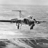 A Buccaneer landing on HMS Eagle circa 1971
