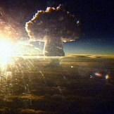 The Tsar Bomba mushroom cloud seen from 100 miles away