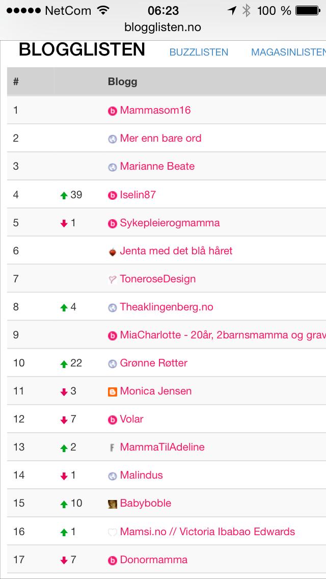 Altså se på dette!! 8.plass på mammabloggene!! Men er jeg en mamma-blogg?