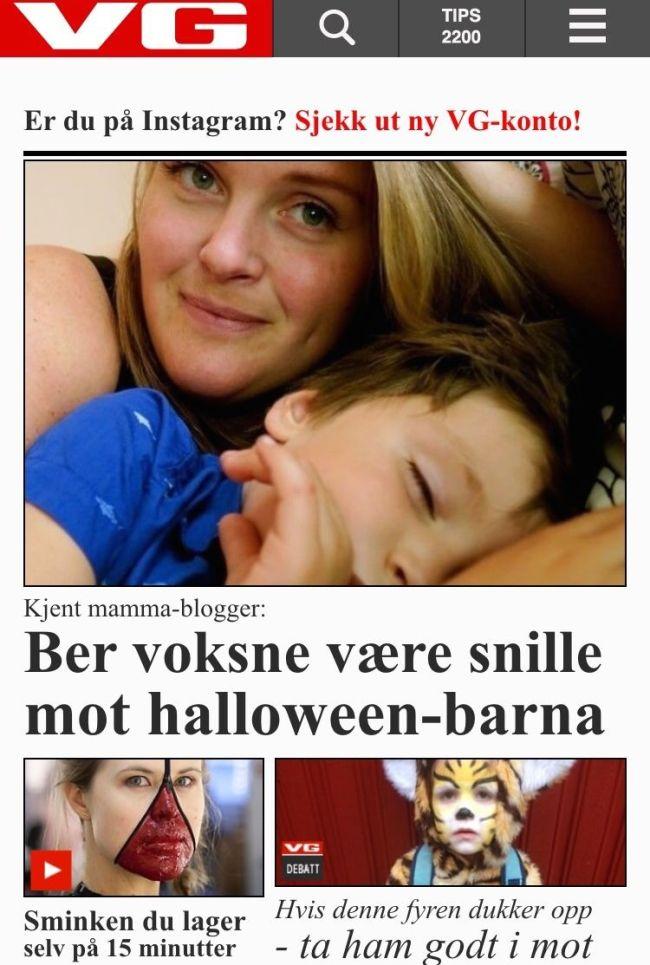 """""""Kjent mamma-blogger""""?? Hahaha!! VG drar på."""