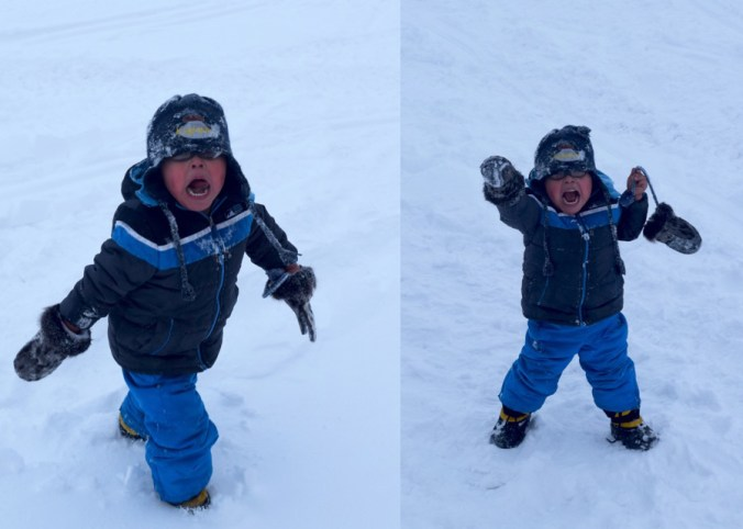 Little Man in the Snow in Brevig Mission, Alaska