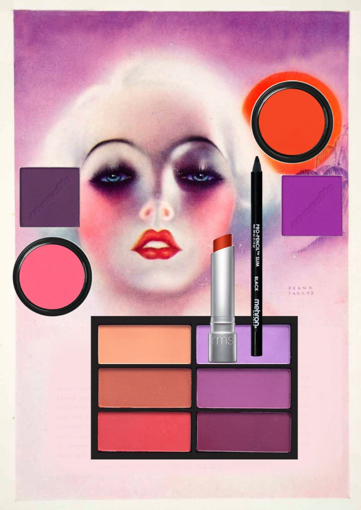 vintage makeup ad collage palette
