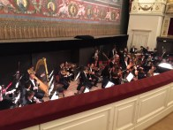 Looking into the orchestra pit at the Semperoper
