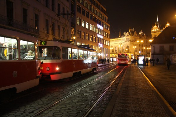 Near the city center of Prague at night